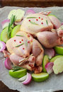 Two raw organic chicken with green apples, red onion and rosemary Royalty Free Stock Photo