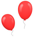 Two red balloons isolated on white background Stock Photo