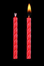 two red birthday candles isolated on black Royalty Free Stock Photo