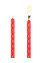 two red birthday candles isolated on white Royalty Free Stock Photo