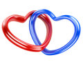 Two Red And Blue Hearts Shape