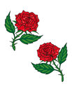 Two red cartoon roses isolated on white for tattoo design Royalty Free Stock Photography