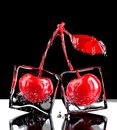 Two cherries with ice. 3D rendering
