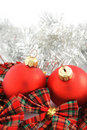 Two red Christmas balls Royalty Free Stock Photo