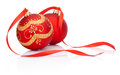 Two Red christmas decoration balls with ribbon bow isolated Royalty Free Stock Photo