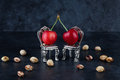 Two red delicious ripe cherries on small silver chairs  with che Royalty Free Stock Photo