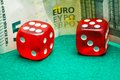 Two red dice Royalty Free Stock Photo