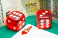 Two red dice with euros and ace Royalty Free Stock Photo