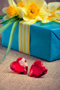 Two red glass hearts with a gift box and flowers Royalty Free Stock Images