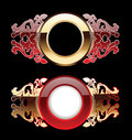 Two Red And Gold Glow  Rings Royalty Free Stock Photography