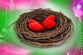 Two red heart in a bird nest attractive color background Royalty Free Stock Images