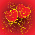 Two red hearts. Royalty Free Stock Photos