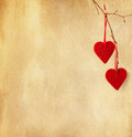 Two red hearts. Stock Photos