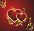 Two red hearts. Stock Photography