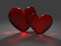 Two red hearts from frosted glass Royalty Free Stock Photo