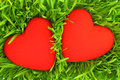 Two red hearts on green grass background Royalty Free Stock Images