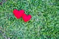 Two red hearts on a lawn background. Holiday Valentine`s Day, wedding