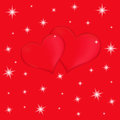 Two red hearts on a red background with stars vector valentines greeting card Royalty Free Stock Photography