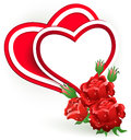 Two red hearts and rose. Royalty Free Stock Image