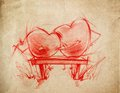 Two red hearts sitting sketch drawing on a bench on a cardboard Stock Images