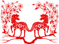 Two red horse for chinese new year the paper cut of horses with plum blossom Royalty Free Stock Images
