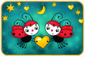 Two red ladybugs with yellow heart birthday card Royalty Free Stock Image