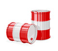 Two Red metal barrel.