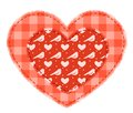Two red patchwork hearts Stock Photo