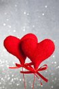 Two red velvet hearts, concept of valentine day Royalty Free Stock Photo