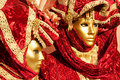 Two red Venice Masks, Carnival. Royalty Free Stock Photo