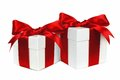Two red and white gift boxes isolated Royalty Free Stock Photo