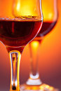 Two red wine glass Stock Photos