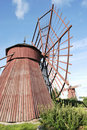 Two Red Wooden Mills Stock Photos