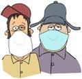 Two rednecks wearing face masks Royalty Free Stock Photo
