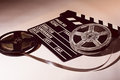 Two reels of film with a clap movie Royalty Free Stock Photo