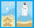 Two religious images jesus christ bless and birth of jesus illustration Stock Photography