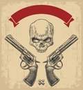 Two revolver with bullets, skull and ribbon. Royalty Free Stock Photo