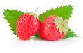 Two ripe red strawberries and a leaf isolated on white background Stock Photography