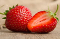 Two ripe strawberries Royalty Free Stock Photo