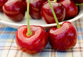 Two ripe sweet cherries with the full plate on the background close up of Royalty Free Stock Images