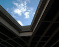 Two roadways highways merge with the sky overhead Stock Images