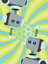 Two Robots Abstract looking gear swirl background Stock Images