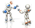 Two robots have a debate this is computer generated image on white background Royalty Free Stock Photo