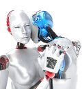 Two robots in love and embracing white background Stock Photos