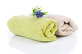 Two rolled towel lavender flower white Stock Photo