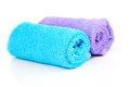 Two rolled towel on white Stock Photos