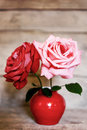 Two roses in red vase on aged wooden background Royalty Free Stock Photo