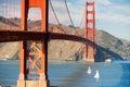 Two Sailboats Golden Gate Bridge San Francisco Bay California Royalty Free Stock Photo