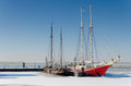 Two sailing ships trapped in ice Royalty Free Stock Image
