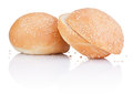 Two sandwich bun with sesame seeds cut on white background Stock Photos